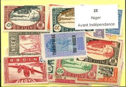 25 Timbres Niger Avant Indépendance