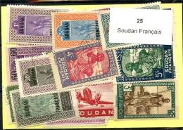 25 Timbres Soudan Francais