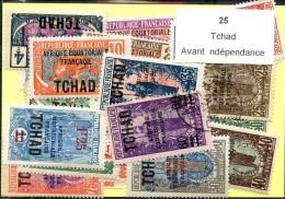 25 Timbres Tchad Avant Indépendance