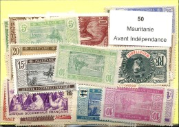 50 Timbres Mauritanie Avant Independance