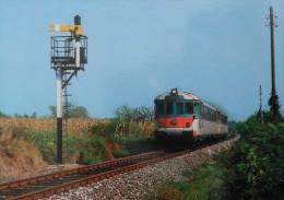 TRENI FERROVIE DELLO STATO AUTOMOTRICE ALN 772 3415 TREVISO PONTE ALPI 1985 - Trains