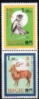 ZD Affe/Ziege Tierzeichen In CHINA 1995 Macao 836+8 Paar ** 3€ Neujahr 1991 Goat/New Year 1992 Monkey Se-tenant Bf Macau - Macao