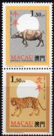 ZD Ochse/Tiger Tierzeichen In CHINA 1995 Macao 837+839 Paar ** 3€ Neujahr 1986 Tigre/New Year 1985 Ox Se-tenant Bf Macau - Macao