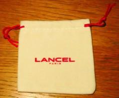 Pochette LANCEL Année 2000 - Velours écru Et Rouge - 9.5/9.5 Cm - Other