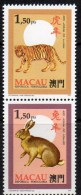ZD Tiger/Hase Tierzeichen In CHINA 1995 Macao 839+43 Paar ** 3€ Neujahr 1986 Tigre/New Year 1987 Hare Se-tenant Bf Macau - Macao