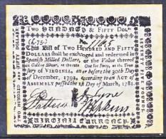 U.S. COLONIAL VIRGINIA    FACIMILE  ON  PARCHMENT  PAPER - Devise Coloniale (18e Siècle)