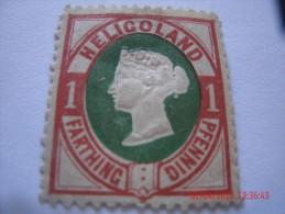 HELIGOLAND, MICHEL# 11, 1 PF, DARK ROSE & DARK GREEN, MINT OG - Héligoland