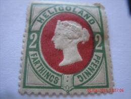 HELIGOLAND, MICHEL# 12, 2 PF, YELLOW GREEN & DARK ROSE, MINT OG - Héligoland