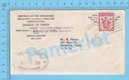 Manila  ( Cover Manila 1958 Philippines, Bureau Of Posts Records Division, Overprint Stamp O.B.  ) Recto/Verso - Philippines