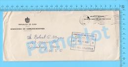 """Asunto Oficial ( Ministerio De Comunicaciones, Cover Habana Cuba 1958, To USA , With A """"R"""" In Flag ) Recto/Verso - Lettres & Documents"""