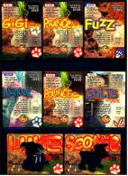8 Beanie Babies Präge-Karten : Gigi - Nanook - Stilts - Scottie - Luke - Fuzz - Prance - Pounce - Plüschtiere