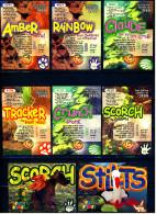 8 Beanie Babies Präge-Karten : Scorch - Amber - Stilts - Tiracker - Crunch - Claude - Rainbow - Plüschtiere