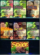 7 Beanie Babies Präge-Karten : Stilts - Legs - Swirly - Scat - Gigi - Crunch - Spike - Plüschtiere