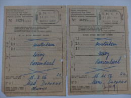 TICKET DE TRANSPORT - FRANCE /ALLEMAGNE/ PAYS BAS - LOT -SNCF - 1956 - Chemins De Fer