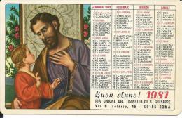 CAL192 - CALENDARIETTO 1981 - PIA UNIONE DEL TRANSITO DI S. GIUSEPPE - Formato Piccolo : 1981-90