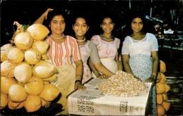 Cp Pasyala Ceylon, Cadju Sellers, Vier Frauen Verkaufen Obst - Costumes