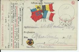1914 - CARTE FM REPONSE Du SP 74 Pour BREST - Marcophilie (Lettres)