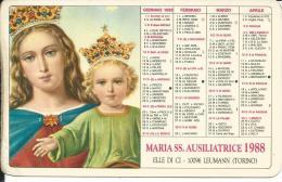 CAL217 - CALENDARIETTO 1988 - MARIA SS. AUSILIATRICE - Formato Piccolo : 1981-90