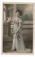 FEMMES - FRAU - LADY - Jolie Carte Fantaisie Jeune Femme Cheveux Crépus PORTRAIT  BELLE ROBE - Mujeres