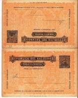 Sal017/  EL SALVADOR - Ascher 22, Feuerwehrkommandant 1893, Doppelkarte(bombero, Pompiers. Fire Mem) - El Salvador