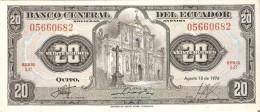 BILLETE DE ECUADOR DE 20 SUCRES DEL AÑO 1976 (BANKNOTE) - Ecuador