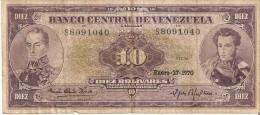 BILLETE DE VENEZUELA DE 10 BOLIVARES DEL AÑO 1970  (BANK NOTE) RARO - Venezuela