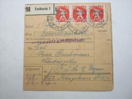 1920, Paketkarte Mit Mehrfachfrankatur Aus Kaufbeuren - Briefe U. Dokumente