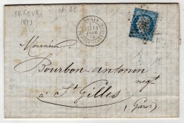 ETOILE DE PARIS 38  COTE 110 € - Marcophilie (Lettres)