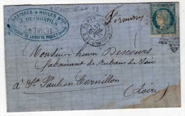ETOILE DE PARIS 20 - Gn , 53 TIMBRE YT 37 JUILLET 1871 COTE 110 € - Marcophilie (Lettres)