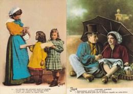Lot 12 CP Costumes Sarthois Et Goûter Des Enfants (2CP Doubles Mais Pas Même Format) - Costumi