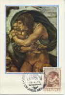 ITALIA - FDC MAXIMUM CARD 1975 - MICHELANGELO - DILUVIO UNIVERSALE - CAPPELLA SISTINA - Cartes-Maximum (CM)
