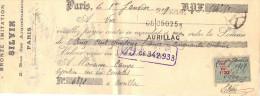 Lettre Change 1919 SILVIN Bronze Imitation Paris Pour Aurillac Cantal - Timbre Fiscal - Lettres De Change