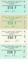 Lot De 4 Billets  Abonnement Hebdomadaire Autobus  LIEGE - CHERTAL Tickets Réservés Aux Travailleurs De La SA COCKERILL - Wochen- U. Monatsausweise