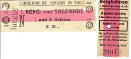 Autriche -Osterreich -BERGBAHN ST. JOHANN IN TIROL -BERG- Und TALFAHRT - I. Siebengebirge A. - G. -Ausweiskarte Aufwärts - Railway
