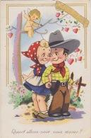 ILLUSTRATEUR COUPLE D ENFANTS COSTUME COW BOY RELIEF PAR COLLAGE - Künstlerkarten