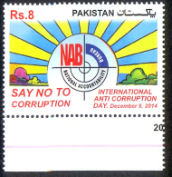 PAKISTAN MNH 2014 NAB NATIONAL ACCOUNTABILITY BUREAU INTERNATIONAL ANTI CORRUPTION DAY SAY NO TO CORRUPTION - Pakistan