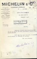 Facture Faktuur - Manufacture De Caoutchouc Michelin & Co - Clermont-Ferrand 1935 - Transports
