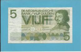 NETHERLANDS -  5 GULDEN - 26.04.1966 - Pick 90.a - VONDEL - 2 Scans - [2] 1815-… : Royaume Des Pays-Bas