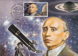 NICOLAE DONICI, ASTRONOMY, TELESCOPE, CM, MAXICARD, CARTES MAXIMUM, OBLIT FDC, 2012, MOLDOVA - Astrology