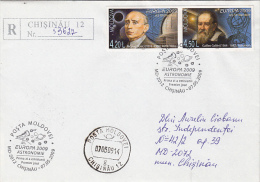 GALILEO GALILEI, NICOLAE DONICI, ASTROLOGY, TELESCOPE, REGISTERED COVER FDC, 2009, MOLDOVA - Astrology