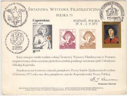 ASTROLOGY, NICHOLAUS COPERNICUS, COMMEMORATIVE SHEET, 1973, POLAND - Astrology