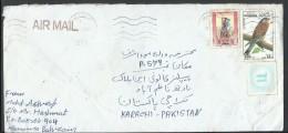 Bahrain Airmail 1990 Falco Tinnunculus 150f. 1989 Sheik Isa Postal History Cover Sent To Pakistan - Bahrain (1965-...)