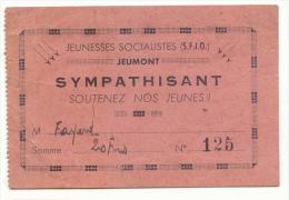 Jeumont, Carte Sympathisant Jeunesses Socialistes (SFIO), Cachet Du Groupe Jeumont Au Dos - France