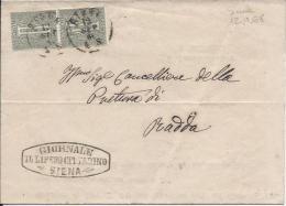 1868 Regno Cifra Vittorio Emanuele II - Siena Per Radda Giornale Quotidiano Il Libero Cittadino - 1861-78 Vittorio Emanuele II