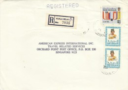 Brunei 1988 Registered Cover With $ 1.00 And 2x40s Stamps, From Kuala Belait  To Singapore - Brunei (1984-...)