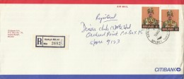 Brunei 1988 Registered Cover With $ 1.00x2 Stamps, From Kuala Belait To Singapore - Brunei (1984-...)