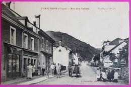 Cpa Cornimont Rue Des Gollets Carte Postale Vosges Belle Animation Commerce Café - Cornimont