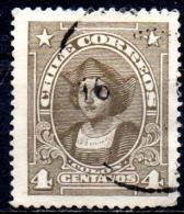 CHILE 1915 Columbus - 4c.   - Brown (small Head)  FU - Chile