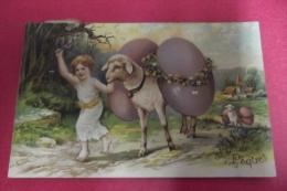 Cp Joyeuses Paques Enfant Avec Mouton Portant 2 Oeufs Decoupi - Easter