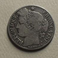 1872 - France - 1 FRANC, CERES, (petit A), Paris, Argent, Silver, KM 822.1, Gad 465a - H. 1 Franc